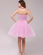 A-Line/Princess Halter Knee-Length Tulle Cocktail Dress With Ruffle Beading (016013979)