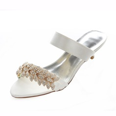 Women's Satin Kitten Heel Sandals Slingbacks With Rhinestone
