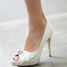 Femmes Satiné Talon stiletto À bout ouvert Plateforme Beach Wedding Shoes avec Bowknot Strass