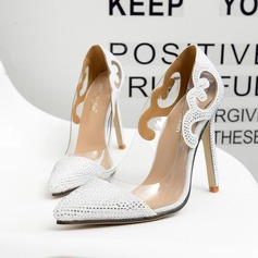 Women's Leatherette Stiletto Heel Pumps Closed Toe With Crystal Split Joint shoes
