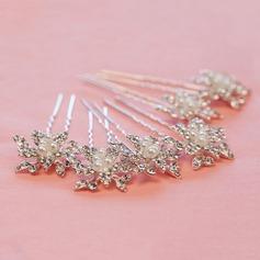 Gorgeous Rhinestone/Alloy/Imitation Pearls Hairpins(Set of 6)