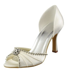 Women's Satin Spool Heel Peep Toe Sandals With Rhinestone Ruched