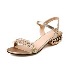 Äkta läder Låg Klack Sandaler Slingbacks med Strass skor