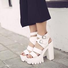 Women's Leatherette Chunky Heel Sandals Platform Peep Toe Slingbacks With Buckle shoes