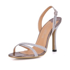 Leatherette Stiletto Heel Slingbacks Sandals