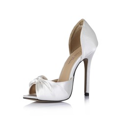 Women's Silk Like Satin Stiletto Heel Peep Toe Sandals With Bowknot