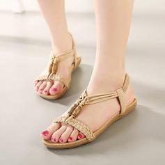 Femmes Similicuir Talon plat Sandales Chaussures plates À bout ouvert avec Lanière tressé Élastique chaussures