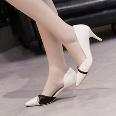 Women's PU Stiletto Heel Pumps Closed Toe With Split Joint shoes