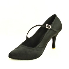 Women's Satin Heels Pumps Modern With Buckle Dance Shoes