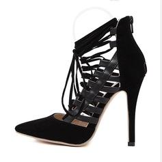 Femmes Similicuir Talon stiletto Escarpins avec Dentelle Ouvertes chaussures