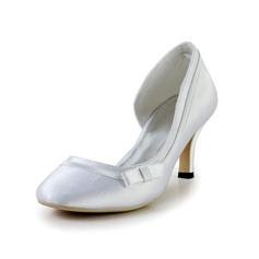 Women's Silk Like Satin Cone Heel Closed Toe Pumps With Bowknot Buckle Rhinestone
