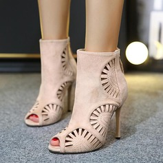 Women's Suede Stiletto Heel Boots Peep Toe Ankle Boots With Hollow-out shoes