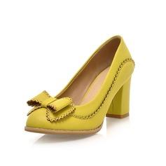 Donna Similpelle Tacco spesso Stiletto Punta chiusa con Bowknot scarpe