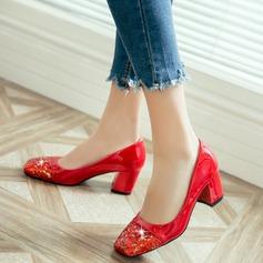Femmes Similicuir Talon bottier Escarpins avec Pailletes scintillantes chaussures
