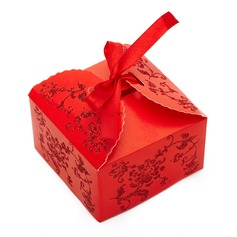Floral Design Cuboid Card Paper Favor Boxes (Set of 12)