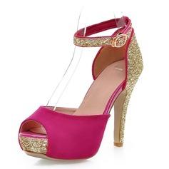 Couro Salto agulha Sandálias Bombas com Espumante Glitter Fivela sapatos