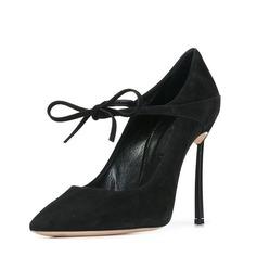 Femmes Suède Talon stiletto Escarpins Bout fermé avec Dentelle chaussures
