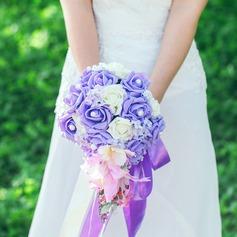 Elegant Cascade Satin/Artificial Silk Bridal Bouquets