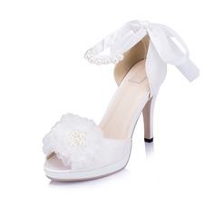 Women's Leatherette Stiletto Heel Pumps With Imitation Pearl Ribbon Tie