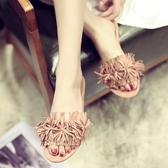 Women's Cloth Low Heel Pumps Peep Toe Slingbacks Slippers With Tassel shoes