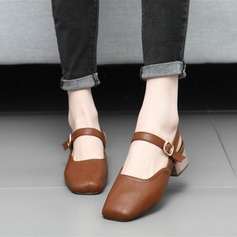 Women's Leatherette Chunky Heel Pumps Closed Toe Slingbacks Mary Jane With Buckle shoes