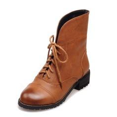 Dámské Koženka Nízký podpatek Kotníkové boty obuv