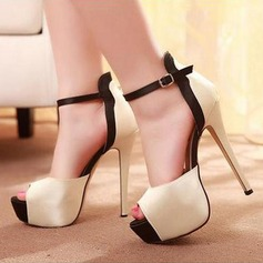 Women's Satin Stiletto Heel Peep Toe Pumps Sandals
