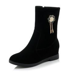 Women's Suede Wedge Heel Boots Mid-Calf Boots With Rhinestone shoes