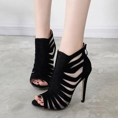 Women's Suede Stiletto Heel Sandals Pumps Peep Toe With Zipper Hollow-out shoes