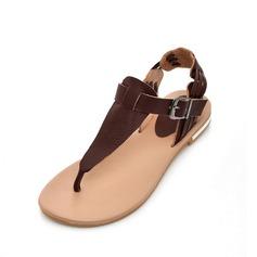 Äkta läder Flat Heel Sandaler Slingbacks med Spänne skor
