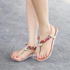 Femmes Similicuir Talon plat Sandales Chaussures plates À bout ouvert avec Strass Lanière tressé Élastique chaussures
