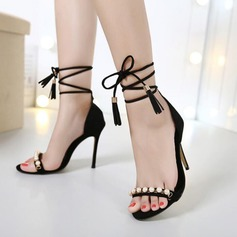 Women's Suede Stiletto Heel Sandals Peep Toe With Imitation Pearl Lace-up shoes