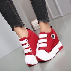 Femmes Toile Talon plat Chaussures plates Plateforme Bout fermé avec Velcro Semelle chaussures