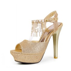 Sparkling Glitter Stiletto Heel Sandals Platform Slingbacks With Tassel shoes