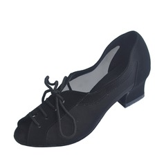 Women's Nubuck Heels Pumps Practice Dance Shoes