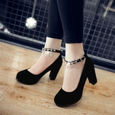 Women's Suede Chunky Heel Pumps With Rhinestone Chain Tassel shoes