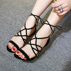 Women's Leatherette Stiletto Heel Sandals Peep Toe With Lace-up shoes