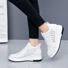 Women's Leatherette Wedge Heel Wedges With Lace-up Hollow-out shoes