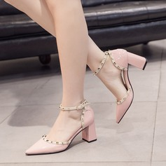 Women's PU Chunky Heel Pumps Closed Toe With Rivet shoes
