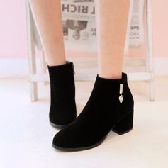 Women's Suede Chunky Heel Boots Ankle Boots With Rhinestone Zipper shoes