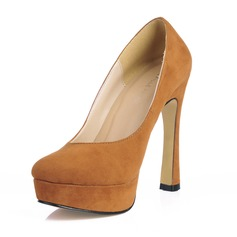 Suede Chunky Heel Pumps Platform Closed Toe shoes