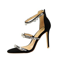 Women's Suede Stiletto Heel Sandals Pumps Peep Toe With Rhinestone Zipper shoes
