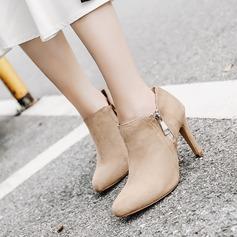 Frauen Veloursleder Stöckel Absatz Absatzschuhe Stiefel Stiefelette mit Reißverschluss Schuhe