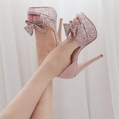 Femmes Pailletes scintillantes Talon stiletto À bout ouvert Plateforme Beach Wedding Shoes avec Bowknot