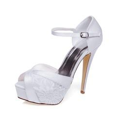 Women's Satin Stiletto Heel Peep Toe Platform