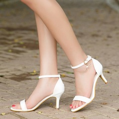 Kvinnor Konstläder Stilettklack Sandaler Pumps Peep Toe med Spänne skor
