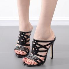 Kvinnor Konstläder Stilettklack Sandaler Pumps Peep Toe Slingbacks Tofflor med Ihåliga ut skor
