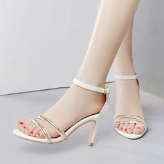 Women's Leatherette Stiletto Heel Sandals Pumps Peep Toe With Rhinestone Buckle Split Joint shoes