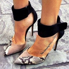 Women's Suede Stiletto Heel Sandals Pumps Closed Toe With Animal Print Zipper shoes