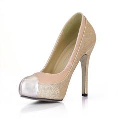 Koženka Šumivé Glitter Jehlový podpatek Lodičky Platforma Closed Toe obuv
